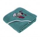 TURQUOISE TOWEL FOR KIDS AND BABYS BY KATUKI SAGUYAKI 100% COTTON AND WITH EMBROIDERY HOOD