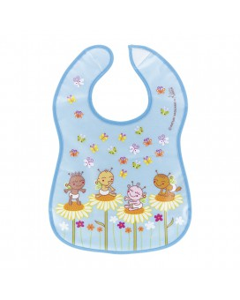 WATERPROOF BLUE PEVA BIB BY KATUKI SAGUYAKI WITH POCKET AND VELCRO FASTENER