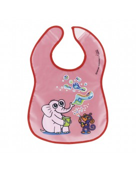 WATERPROOF RED PEVA BIB BY KATUKI SAGUYAKI WITH POCKET AND VELCRO FASTENER