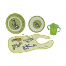 DINNERWARE MELAMINE SET AND PEVA GREEN BIB BY KATUKI SAGUYAKI