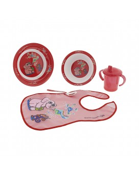 DINNERWARE MELAMINE SET AND PEVA RED BIB BY KATUKI SAGUYAKI