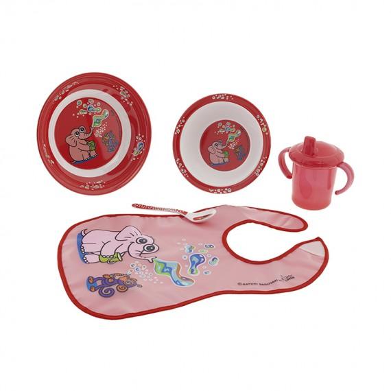Set de Vajilla de Melamina y Babero de Peva rosa con dibujo de Mariquitas y Corazones Katuki Saguyaki
