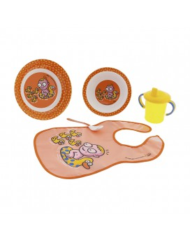 DINNERWARE MELAMINE SET AND PEVA ORANGE BIB BY KATUKI SAGUYAKI