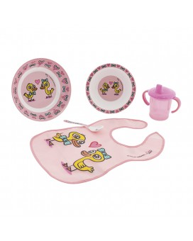 DINNERWARE MELAMINE SET AND PEVA PINK BIB BY KATUKI SAGUYAKI