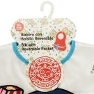 Babero impermeable de Peva blanco de Katuki Saguyaki con bolsillo y cierre de velcro