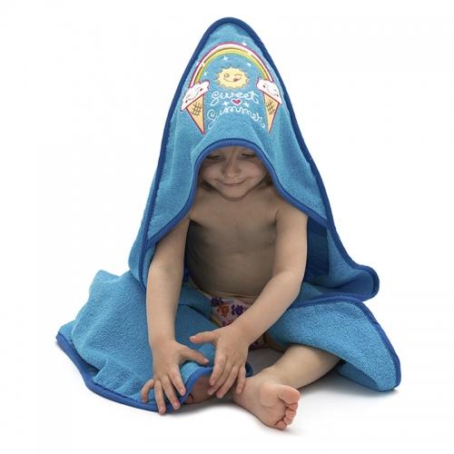 358ebcb0951 ... Toalla amarilla para niños y bebés de Kayuki Saguyaki 100% algodón y  con capucha bordada ...