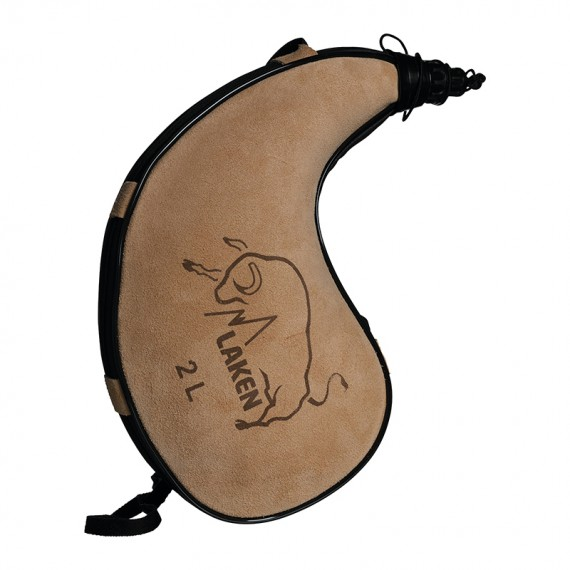 Leather canteen 2 L. kidney shape