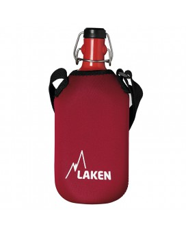 ALUMINIUM DRINKING RED CANTEEN 1L WITH CARABINER AND NEOPRENE COVER