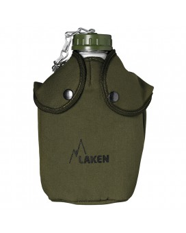 ALUMINUM CANTEEN 1,3L NARROW MOUTH WITH GREEN CANVAS COVER