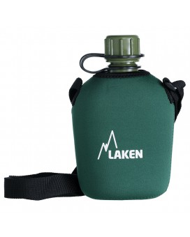 POLYTHENE CANTEEN 1L WITH GREEN NEOPRENE COVER