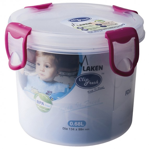 PP lunchbox 0,68 L. blue lid - Round