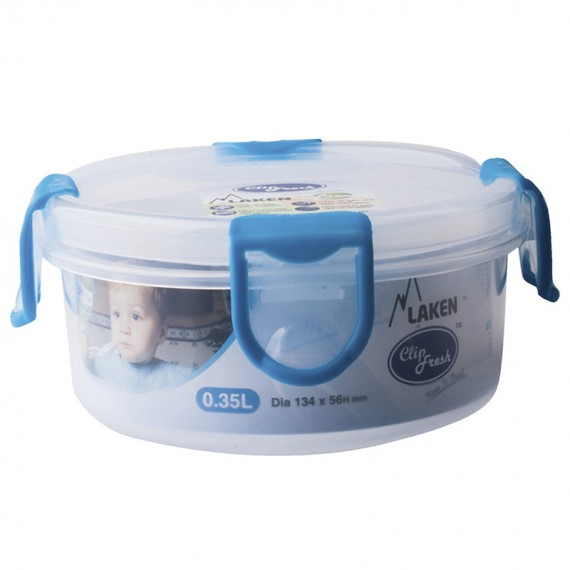 PP lunchbox 0,35 L. blue lid - Round