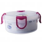 PP lunchbox 0,35 L. pink lid - Round