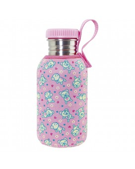 STAINLESS STEEL BOTTLE 0,5L WITH pink NEOPRENE COVER BY KATUKI SAGUYAKI