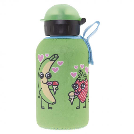 INSULATED STAINLESS STEEL BOTTLE 0,35L WITH GREEN NEOPRENE COVER BY KATUKI SAGUYAKI