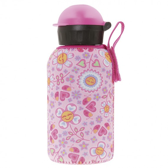 INSULATED STAINLESS STEEL BOTTLE 0,35L WITH PINK NEOPRENE COVER BY KATUKI SAGUYAKI