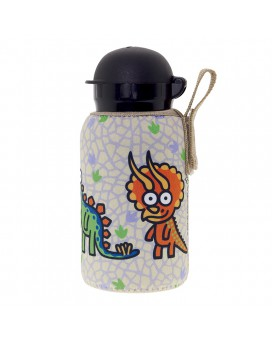 ALUMINIUM BOTTLE FOR KIDS 0,35L WITH BEIGE NEOPRENE COVER BY KATUKI SAGUYAKI