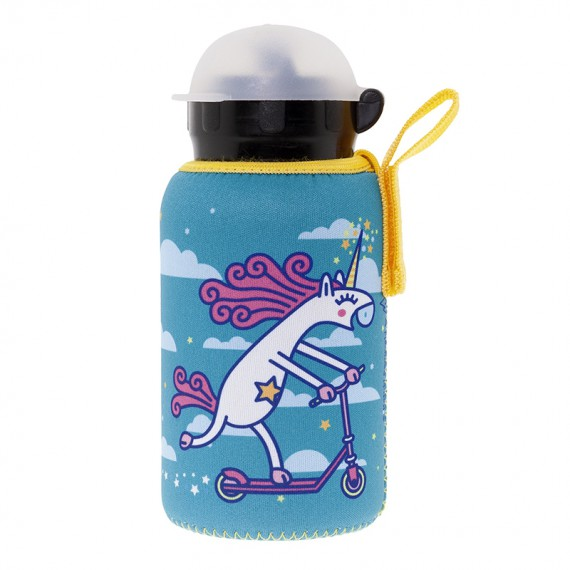 ALUMINIUM BOTTLE FOR KIDS 0,35L WITH TURQUOISE NEOPRENE COVER BY KATUKI SAGUYAKI