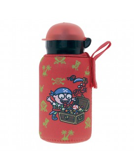 ALUMINIUM BOTTLE FOR KIDS 0,35L WITH RED NEOPRENE COVER BY KATUKI SAGUYAKI