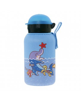 ALUMINIUM BOTTLE FOR KIDS 0,35L WITH BLUE NEOPRENE COVER BY KATUKI SAGUYAKI