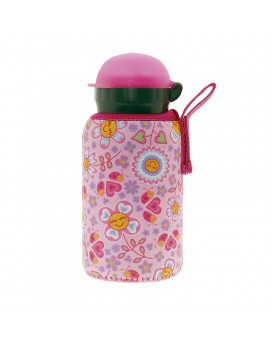 ALUMINIUM BOTTLE FOR KIDS 0,35L WITH PINK NEOPRENE COVER BY KATUKI SAGUYAKI