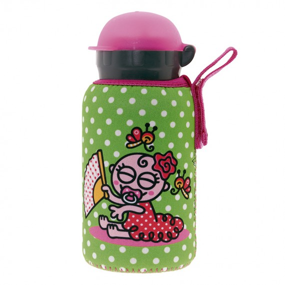ALUMINIUM BOTTLE FOR KIDS 0,35L WITH GREEN NEOPRENE COVER BY KATUKI SAGUYAKI