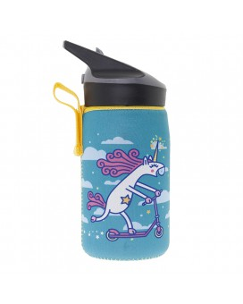TRITAN BOTTLE 0,45L WITH TURQUOISE NEOPRENE COVER BY KATUKI SAGUYAKI