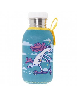 STAINLESS STEEL BOTTLE 0,5L WITH TURQUOISE NEOPRENE COVER BY KATUKI SAGUYAKI