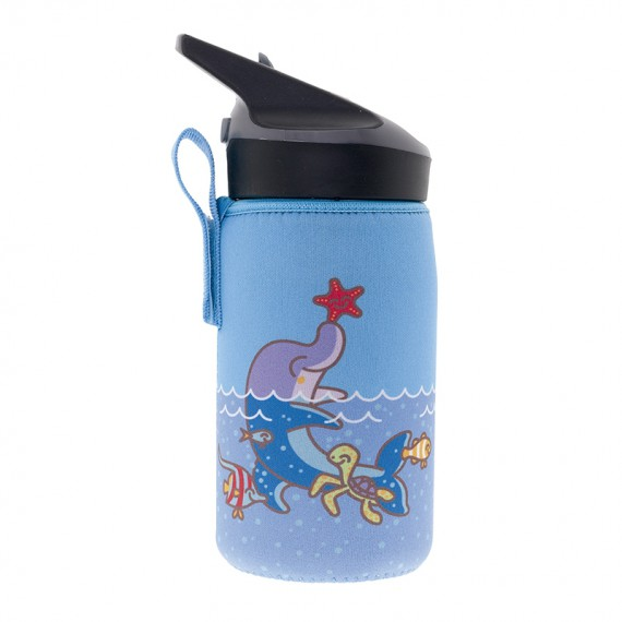INSULATED STAINLESS STEEL BOTTLE 0,35L WITH BLUE NEOPRENE COVER BY KATUKI SAGUYAKI