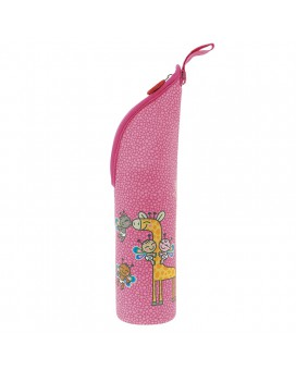 STAINLESS STEEL THERMO LIQUIDS FLASK 0,35L WITH PINK WITH JIRAFFE NEOPRENE COVER BY KATUKI SAGUYAKI