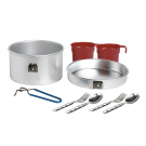 ALUMINIUM CAMPING SET 1,6L WITH CULTERY AND CUPS