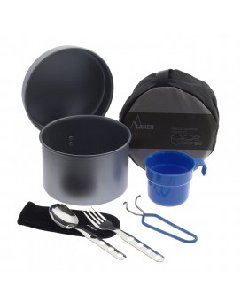 ALUMINIUM CAMPING SET 1.25L WITH CUTLERY AND CUP