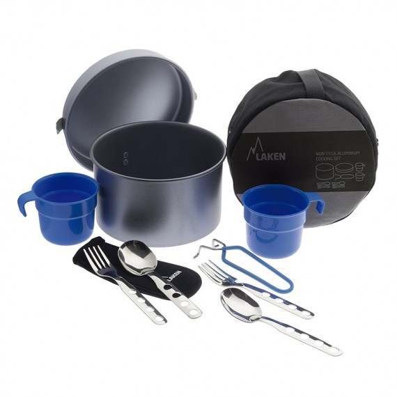 ALUMINIUM CAMPING SET 1,6L WITH CULTERY AND TWO CUPS