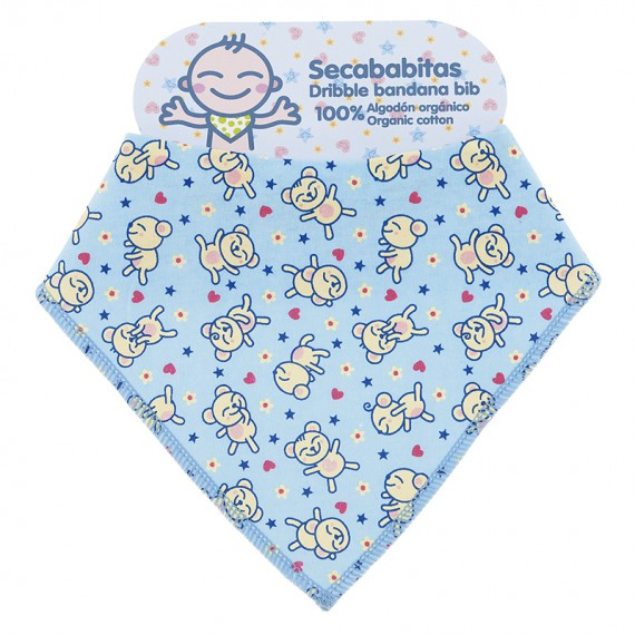 100% ORGANIC COTTON BLUE DRIBBLE BANDANA BIB BY KATUKI SAGUYAKI