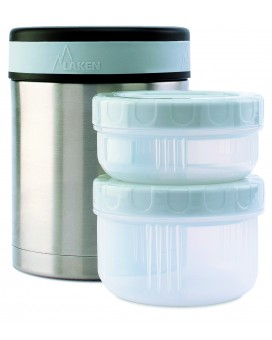 STAINLESS STEEL THERMO FOOD FLASK 1L WITH INTERIOR CONTAINERS AND COVER