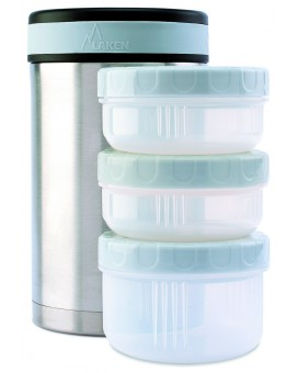 STAINLESS STEEL THERMO FOOD FLASK 1.5L WITH 3 INTERIOR CONTAINERS AND COVER