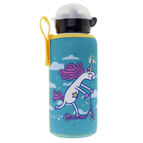 ALUMINIUM BOTTLE FOR KIDS 0,45L WITH TURQUOISE NEOPRENE COVER BY KATUKI SAGUYAKI