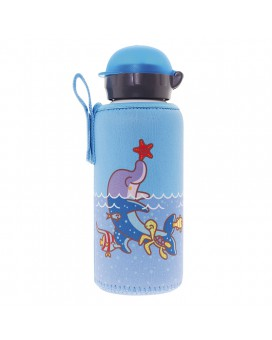 ALUMINIUM BOTTLE FOR KIDS 0,45L WITH BLUE NEOPRENE COVER BY KATUKI SAGUYAKI