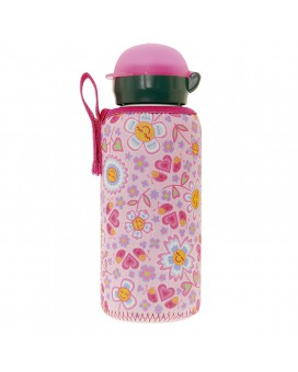ALUMINIUM BOTTLE FOR KIDS 0,45L WITH PINK NEOPRENE COVER BY KATUKI SAGUYAKI