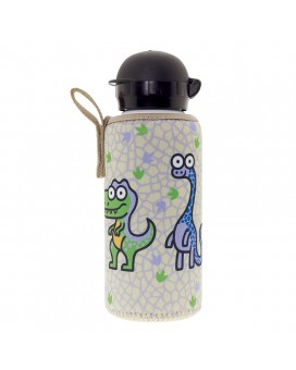 ALUMINIUM BOTTLE FOR KIDS 0,45L WITH BEIGE NEOPRENE COVER BY KATUKI SAGUYAKI