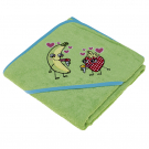 GREEN TOWEL FOR KIDS AND BABYS BY KATUKI SAGUYAKI 100% COTTON AND WITH EMBROIDERY HOOD