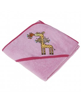 PINK TOWEL FOR KIDS AND BABYS BY KATUKI SAGUYAKI 100% COTTON AND WITH EMBROIDERY HOOD