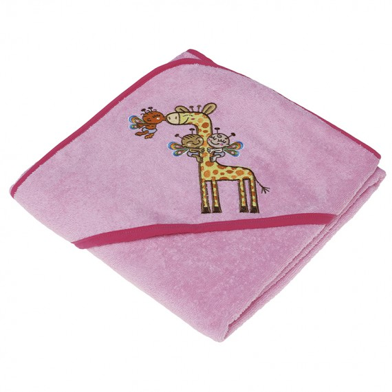 Toalla rosa para niños y bebés de Kayuki Saguyaki 100% algodón y con capucha bordada