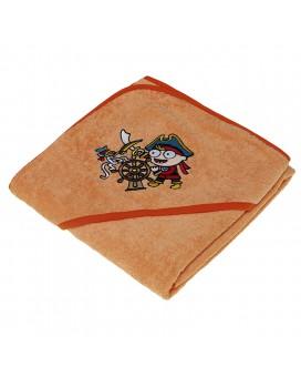 Toalla naranja para niños y bebés de Kayuki Saguyaki 100% algodón y con capucha bordada