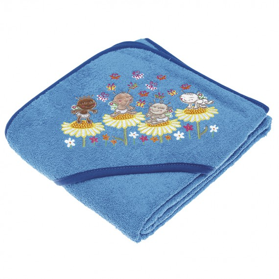 BLUE TOWEL FOR KIDS AND BABYS BY KATUKI SAGUYAKI 100% COTTON AND WITH EMBROIDERY HOOD