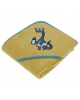 YELLOW TOWEL FOR KIDS AND BABYS BY KATUKI SAGUYAKI 100% COTTON AND WITH EMBROIDERY HOOD