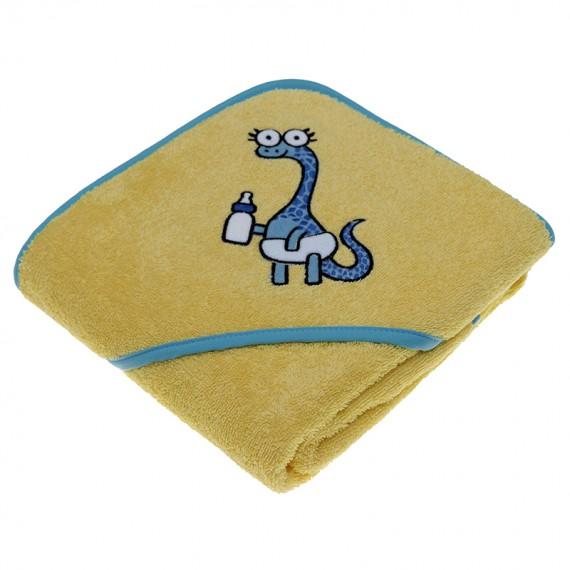 Toalla amarilla para niños y bebés de Kayuki Saguyaki 100% algodón y con capucha bordada
