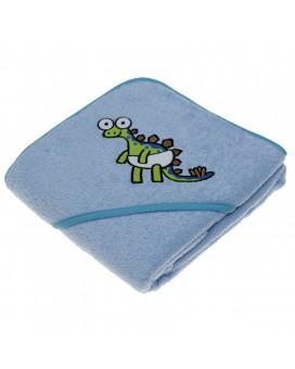 Toalla azul para niños y bebés de Kayuki Saguyaki 100% algodón y con capucha bordada