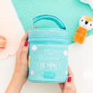 INSULATED STAINLESS STEEL FOOD FLASK 0,5L WITH TURQUOISE TEXTILE COVER BY MR. WONDERFUL