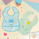 WATERPROOF PINK PEVA BIB BY KATUKI SAGUYAKI WITH POCKET AND VELCRO FASTENER